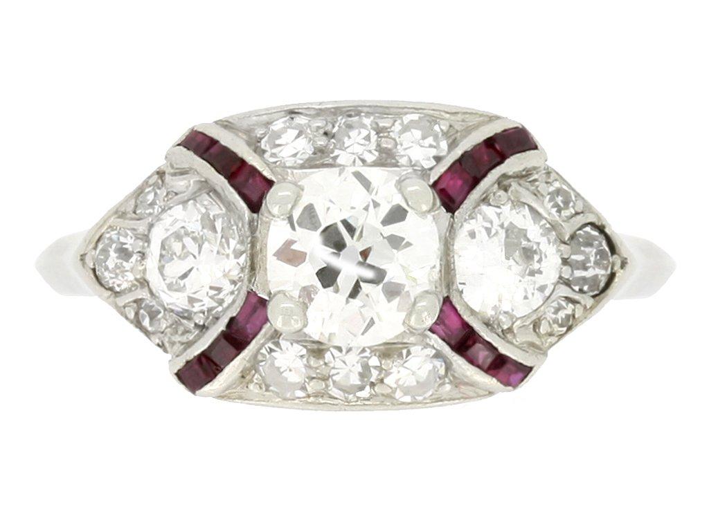 front view vintage ruby diamond engagement ring hatton garden berganza