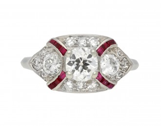Diamond and ruby cluster ring berganza hatton garden