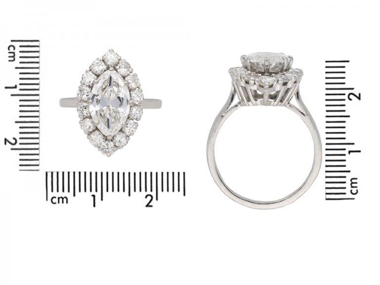 Vintage marquise diamond cluster ring berganza hatton garden
