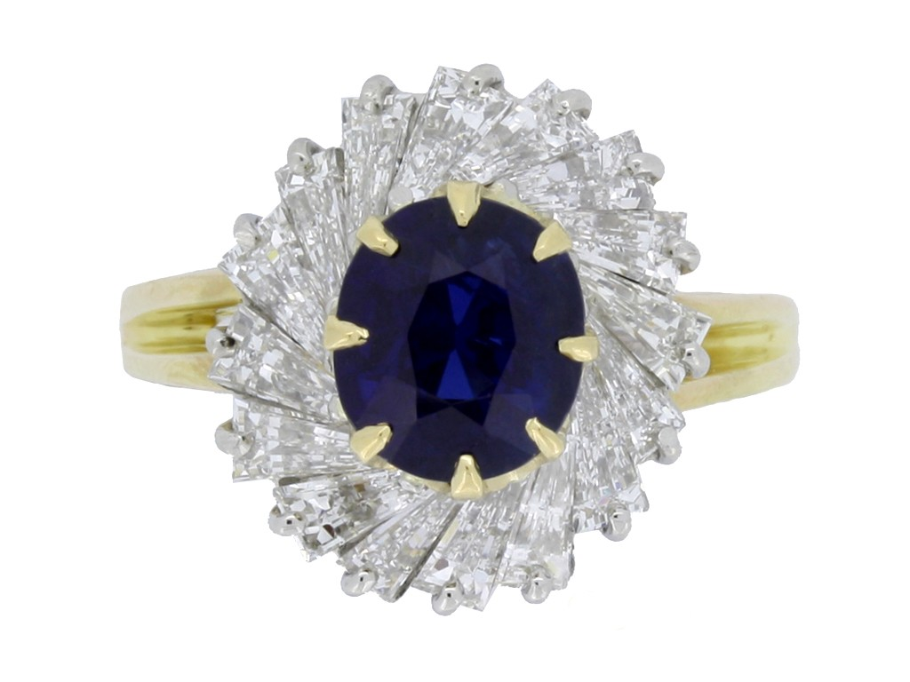 front view Oscar Heyman Brothers sapphire and diamond ballerina coronet cluster ring