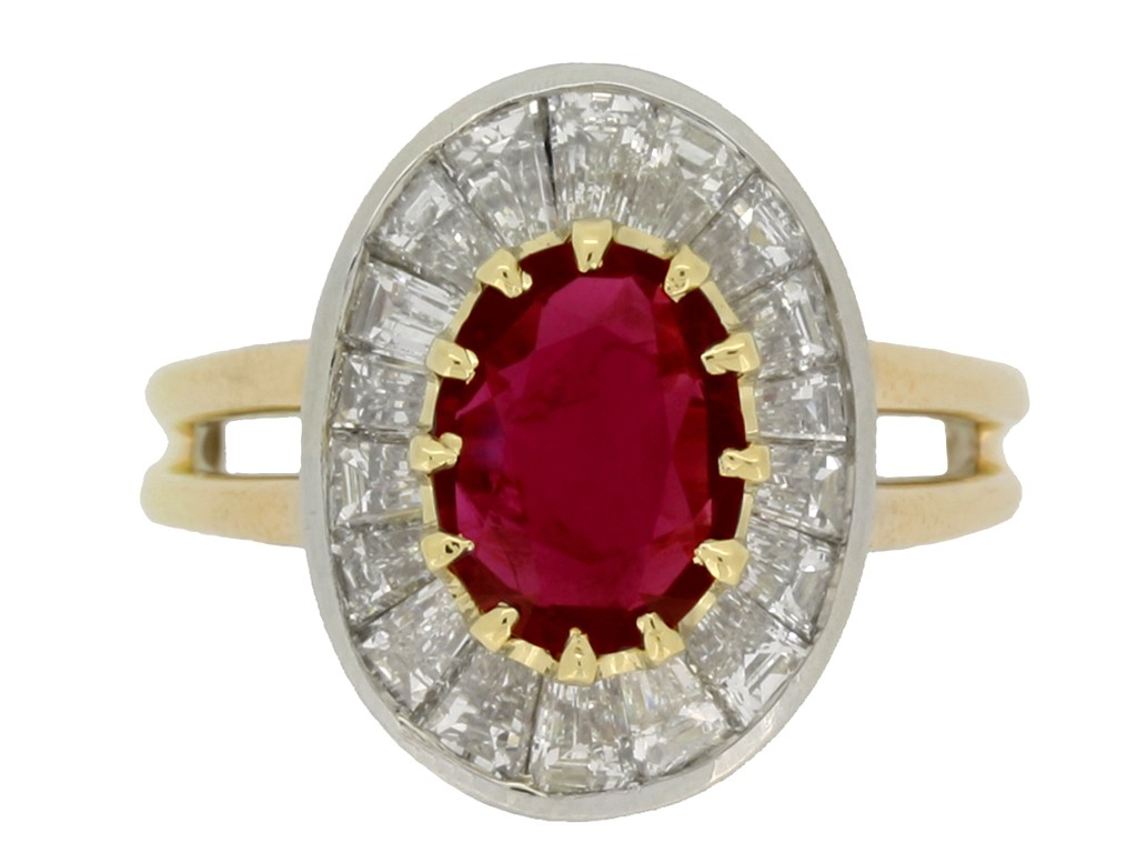 Oscar Heyman Brothers Burmese ruby and diamond coronet cluster ring, circa 1970.