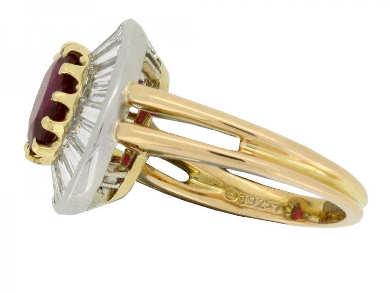 Oscar Heyman Brothers Burmese ruby and diamond coronet cluster ring, circa 1970.