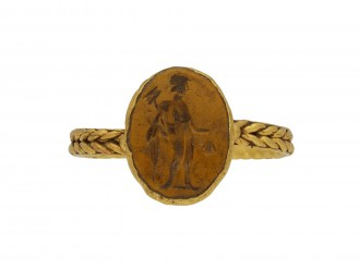 Ancient Roman gold ring intaglio Mercury berganza hatton garden