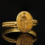 Ancient Roman gold ring with intaglio of Mercury, circa 1st - 2nd century AD.