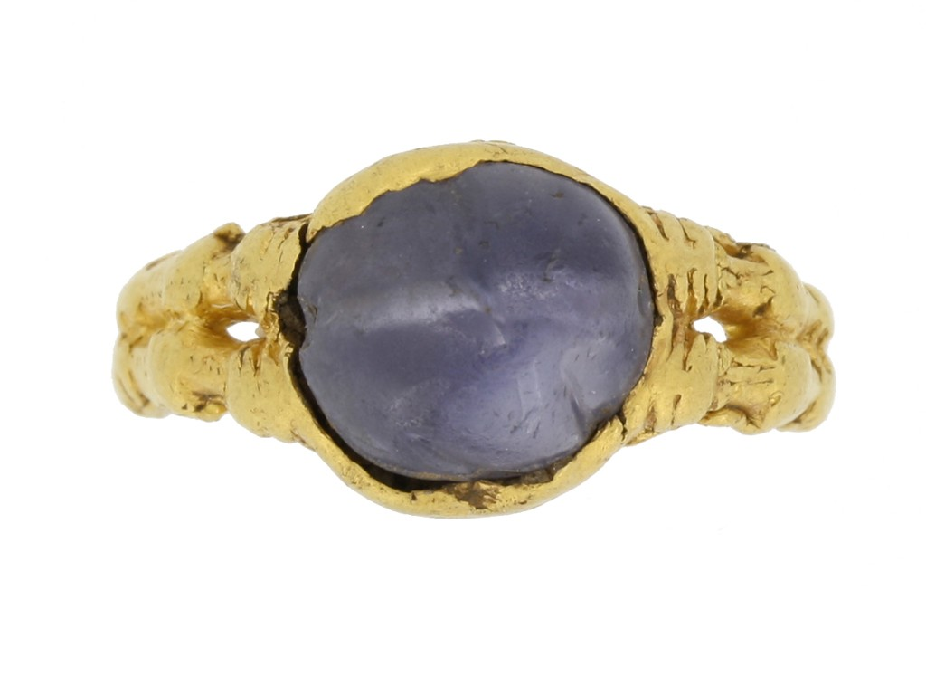front view Medieval zoomorphic sapphire ring, circa 12th   14th century.