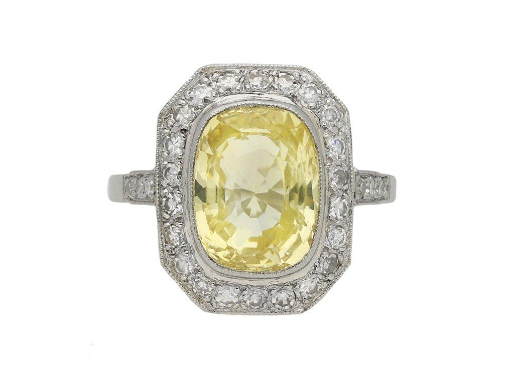 Ceylon yellow sapphire cluster ring berganza hatton garden