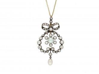 Victorian natural pearl diamond pendant berganza hatton garden