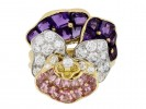 front view Oscar Heyman Brothers pansy ring