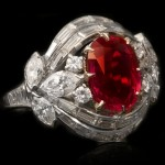 Burmese ruby and diamond cluster ring, circa 1950.