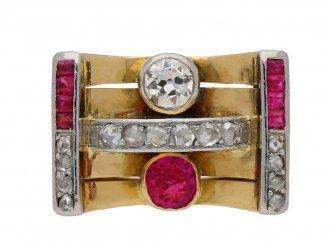 Vintage ruby and diamond cocktail ring berganza hatton garden