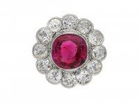 Burmese ruby diamond coronet cluster ring berganza hatton garden