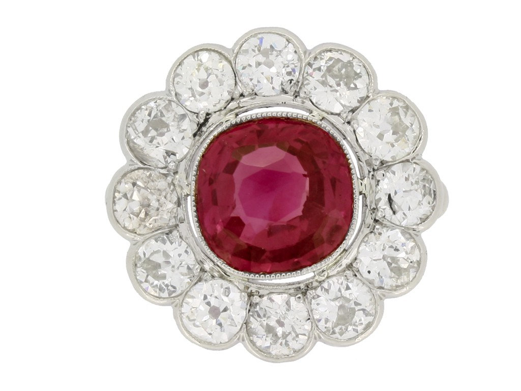 front view Burmese ruby and diamond coronet cluster ring, circa 1910. berganza hatton garden