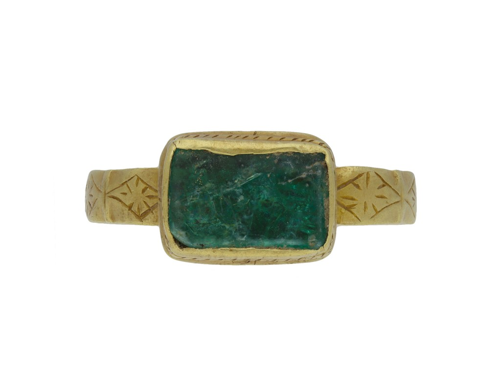 Medieval green glass ring berganza hatton garden