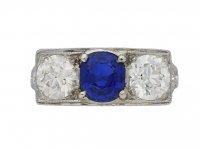 Art Deco sapphire diamond three stone ring berganza hatton garden
