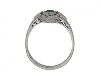 Art Deco emerald and diamond cluster ring berganza hatton garden