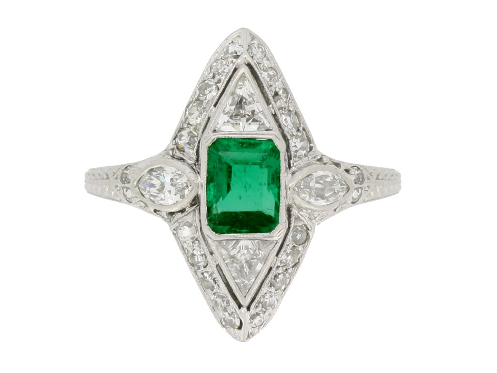 front view antique emerald diamond ring hatton garden berganza