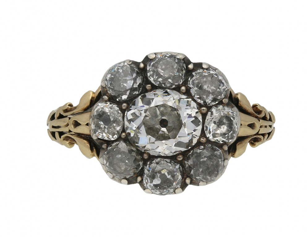 Georgian diamond coronet cluster ring berganza hatton garden