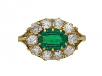 Victorian Colombian emerald diamond ring berganza hatton garden