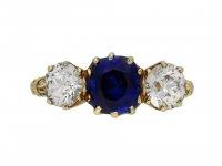 Victorian sapphire diamond three stone ring berganza hatton garden