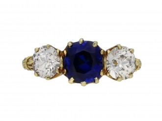 Victorian sapphire diamond three stone ring berganza hatton garden