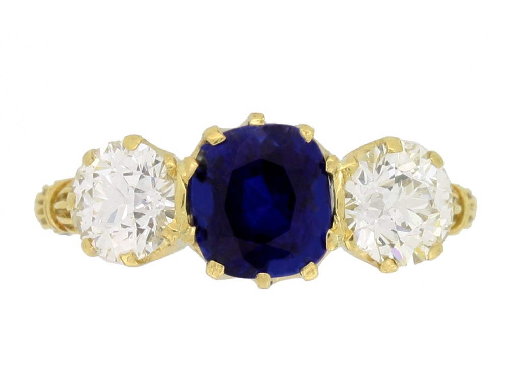 front view Antique sapphire and diamond three stone ring