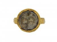 Ancient Roman man and goat intaglio ring berganza hatton garden