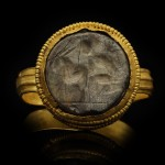 Ancient Roman man and goat intaglio ring, circa 1st-2nd century AD.