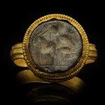 Ancient Roman man and goat intaglio ring, circa 1st-2nd century AD.