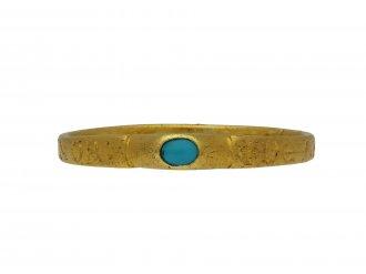 Medieval turquoise bishop's stirrup ring hatton garden berganza