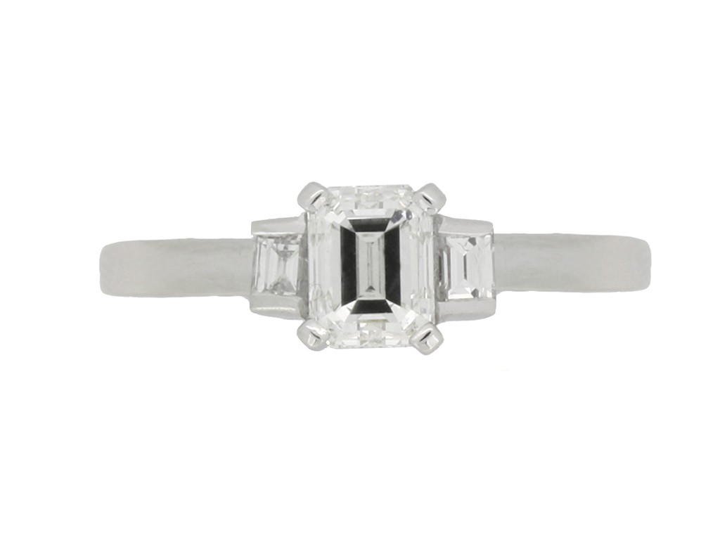 front view Art Deco emerald cut diamond ring berganza hatton garden