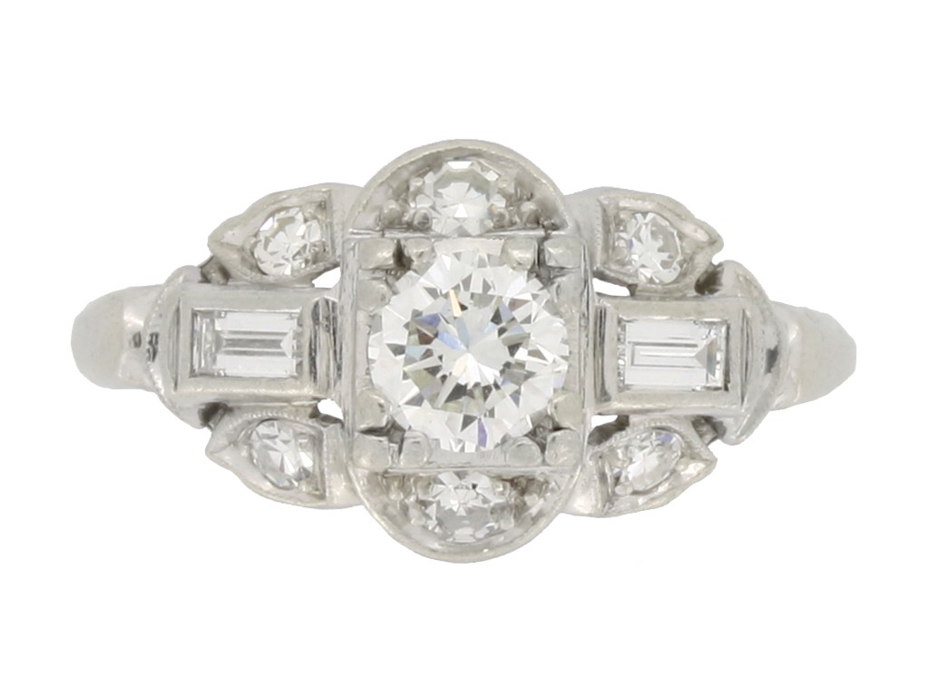 front view Vintage diamond cluster engagement ring