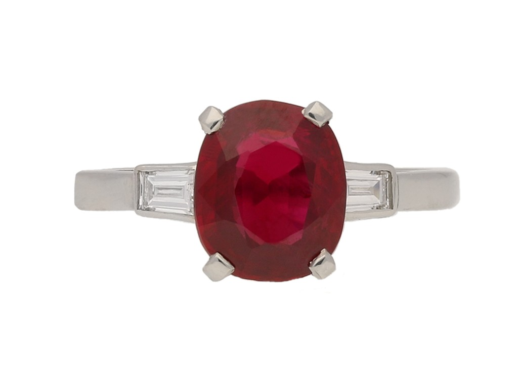 front view Pigeon blood Burmese ruby and diamond engagement ring, circa 1935. berganza hatton garden