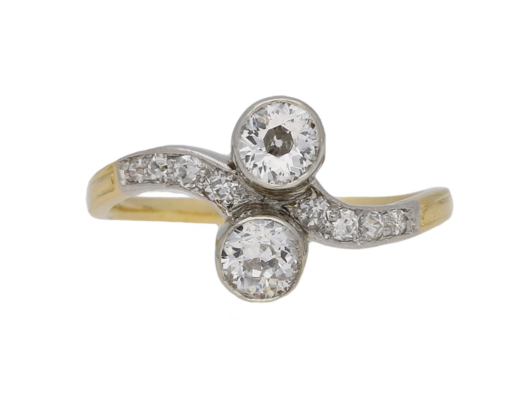 Antique diamond two stone cross over ring berganza hatton garden
