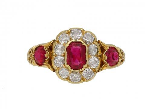 Burmese ruby diamond cluster ring berganza hatton garden