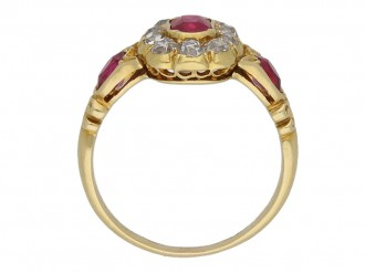 Burmese ruby diamond cluster ring berganza hatton garden