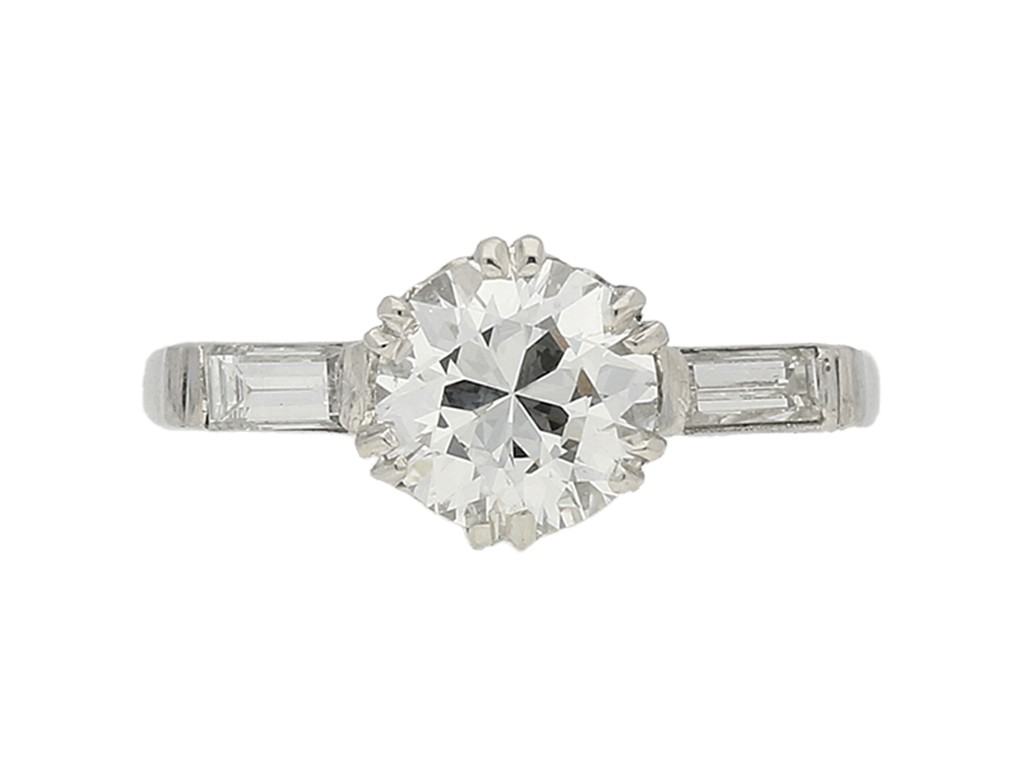 front view Solitaire diamond engagement ring with diamond set shoulders