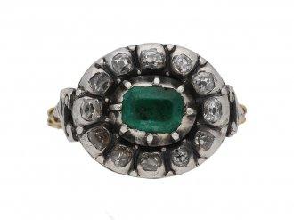 Georgian emerald diamond cluster ring berganza hatton garden