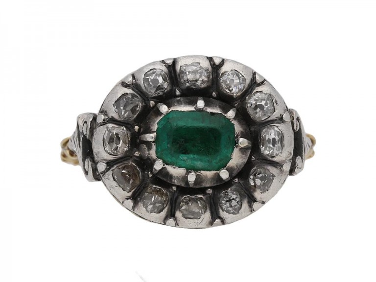 Georgian emerald diamond cluster ring berganza hatton garden