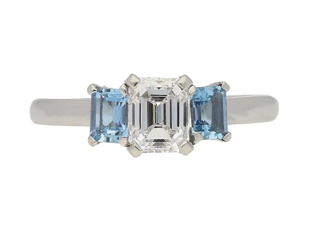 front view Diamond and aquamarine three stone ring