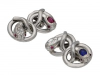 Ruby, sapphire diamond set snake cufflinks berganza hatton garden