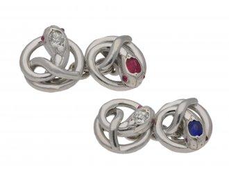 Ruby, sapphire diamond set snake cufflinks berganza hatton garden