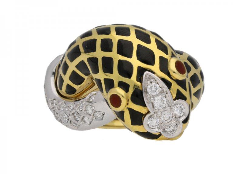 David Webb diamond and enamel snake ring berganza hatton garden
