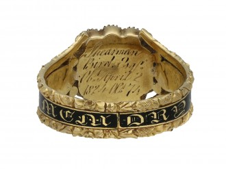 Georgian pearl black enamel memorial ring berganza hatton garden
