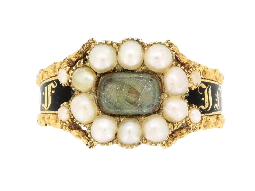 front view Georgian pearl and black enamel memorial ring