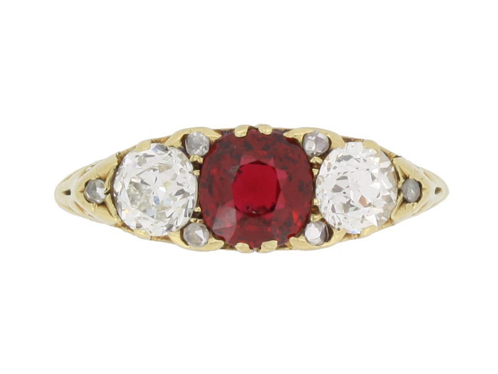front view Antique spinel and diamond three stone ring