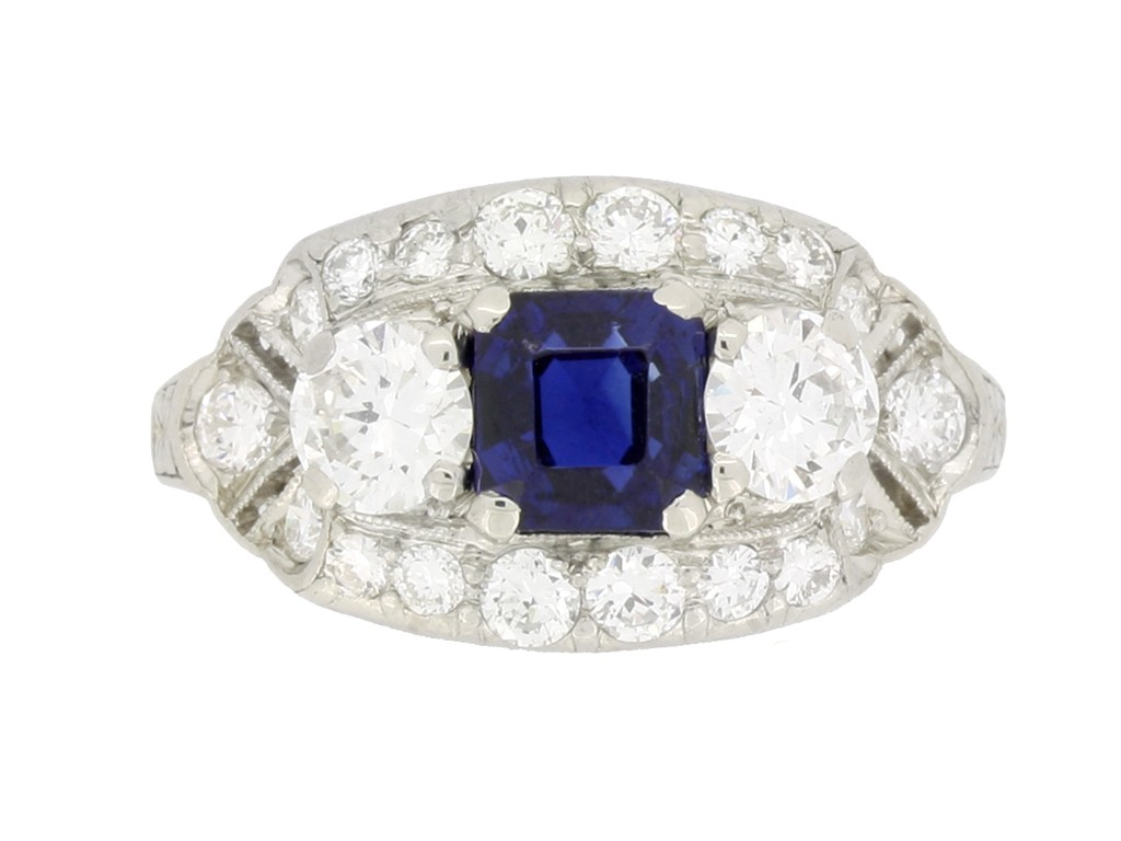 front view Sapphire and diamond cluster engagement ring