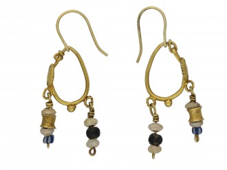 Ancient Roman gold and glass bead earrings berganza hatton garden