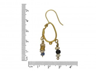 Ancient Roman gold and glass bead earrings berganza hatton garden