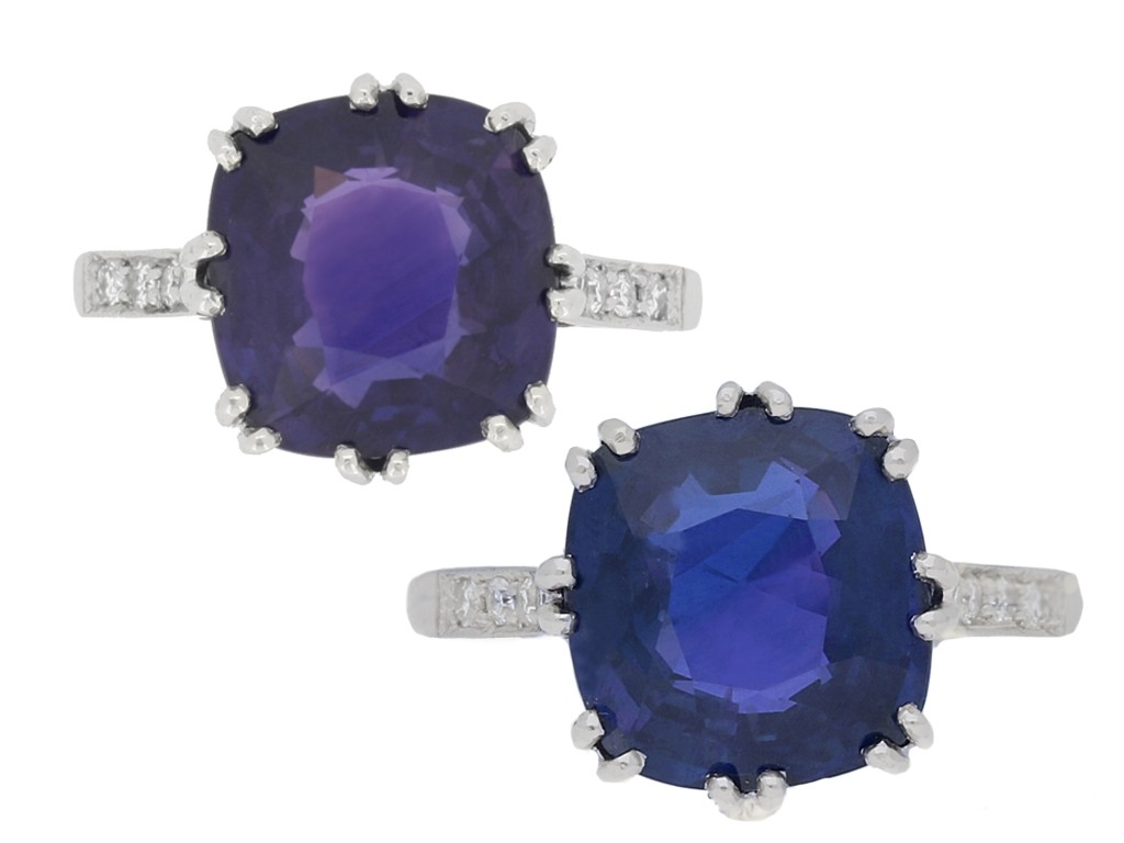 front view Colour change sapphire ring