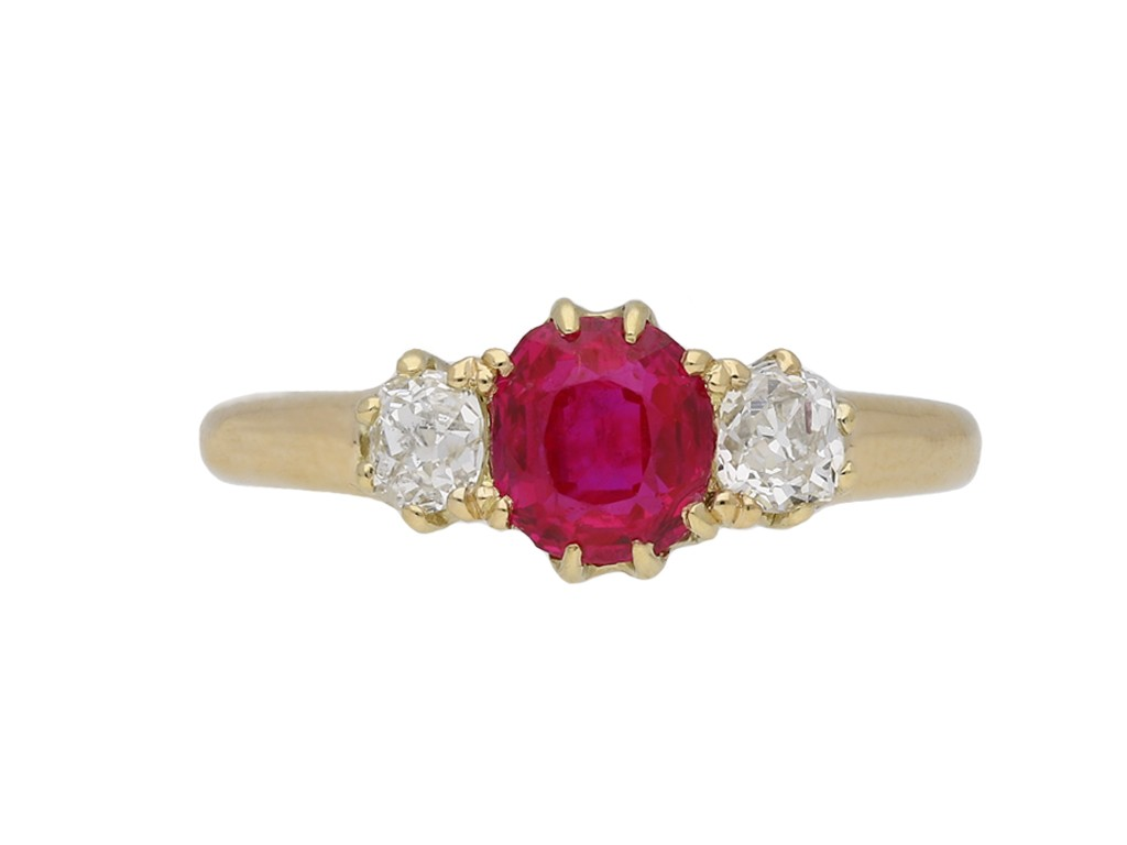 Antique Burmese ruby diamond  ring berganza hatton garden